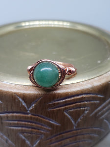 Copper Wired Green Aventurine Ring