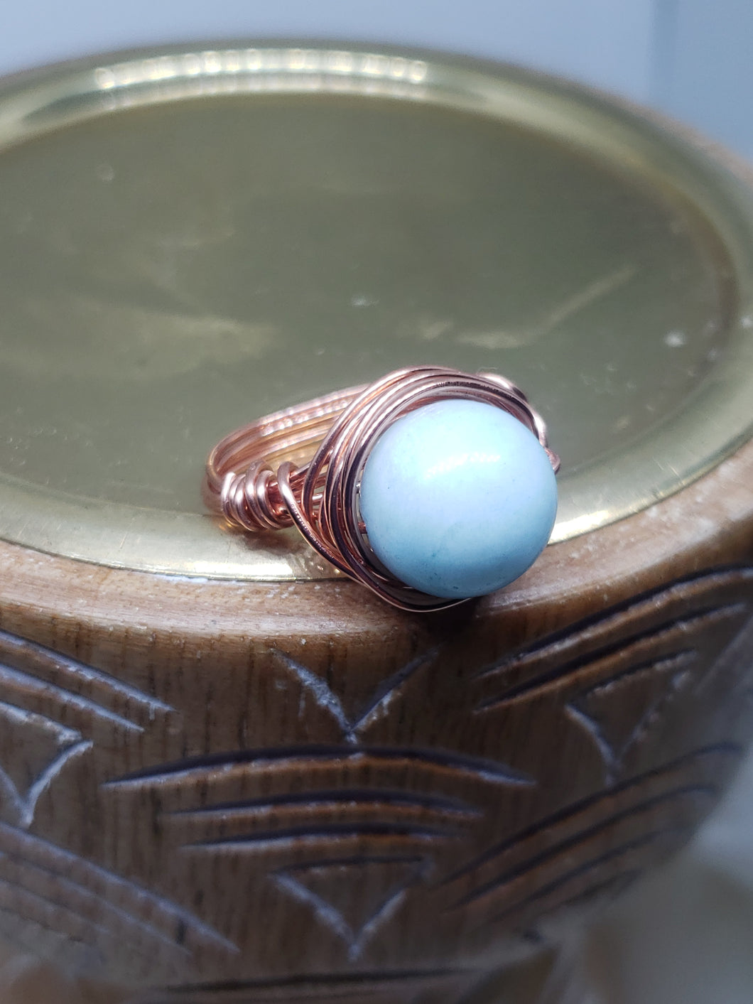 Copper Wired, Larimar Ring