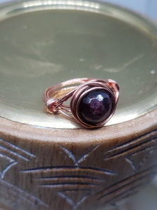 Copper Wired, Red Garnet Ring