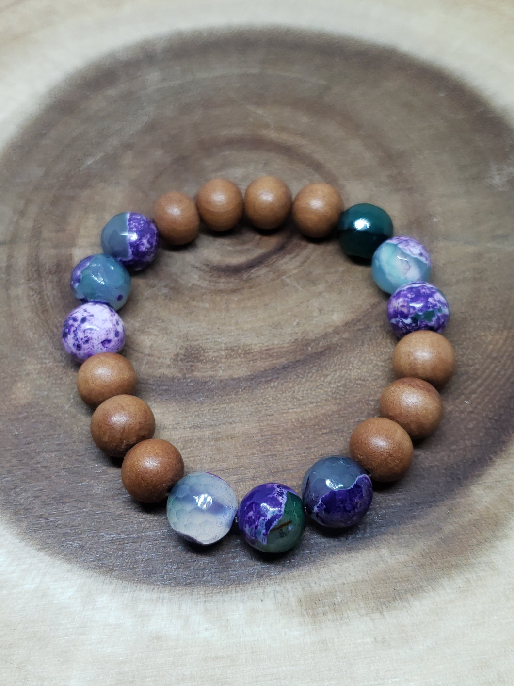 Faceted Fire Agate, Sandalwood Bracelet