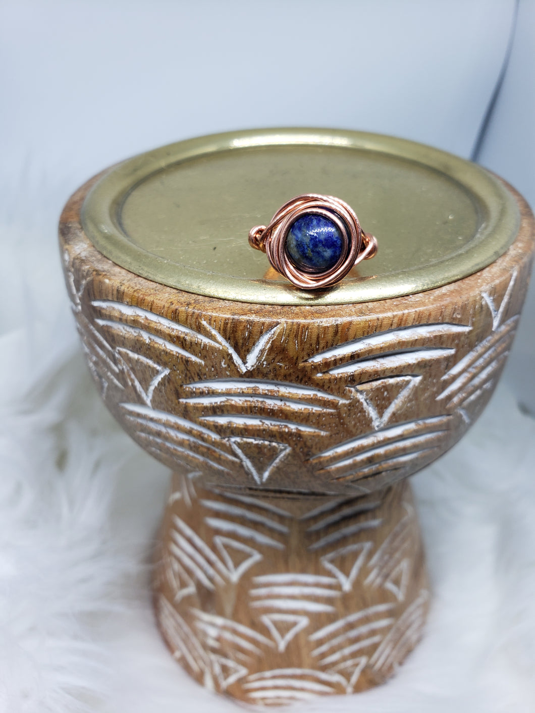Lapis Lazuli Copper Wired Ring