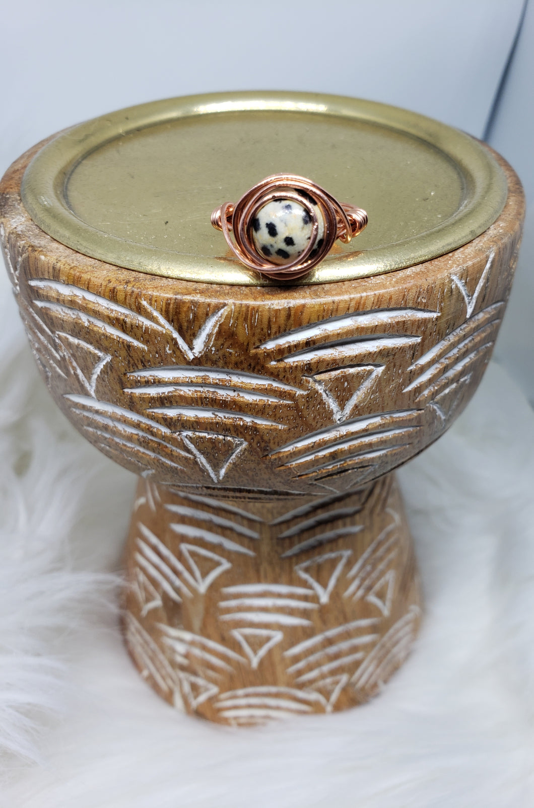 Dalmatian Jasper Copper Wired Ring