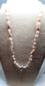 Peach Moonstone Zen Buddha Necklace