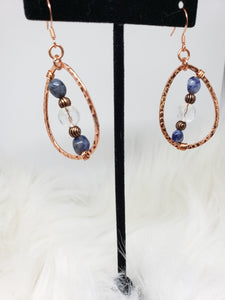 Sodalite, Clear Quartz Copper Hoop Earrings