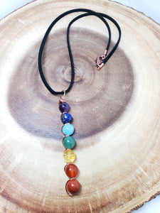 Chakra Necklace with Vegan Leather