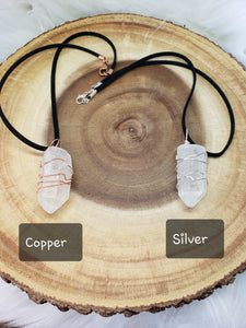Silver / Copper Wired Clear Quartz Necklace