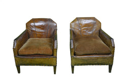 Authentic 1930's  Vintage French Leather Club Chairs made in Paris -circa 1930 - French Antiques www.Decoparis.com