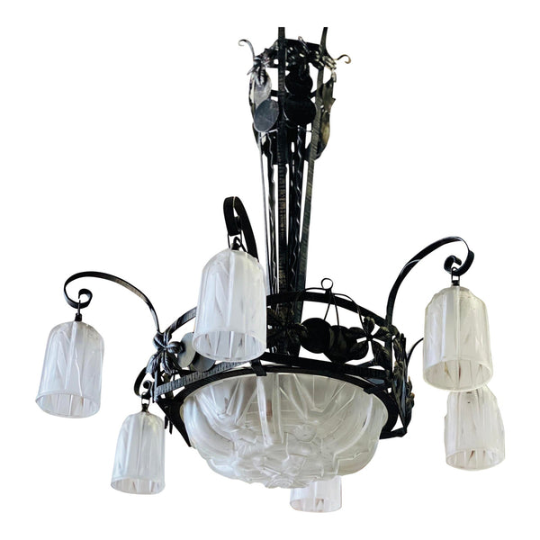 1930s Muller Freres French Art Deco Chandelier Signed by Muller Frères Luneville - French Antiques www.Decoparis.com