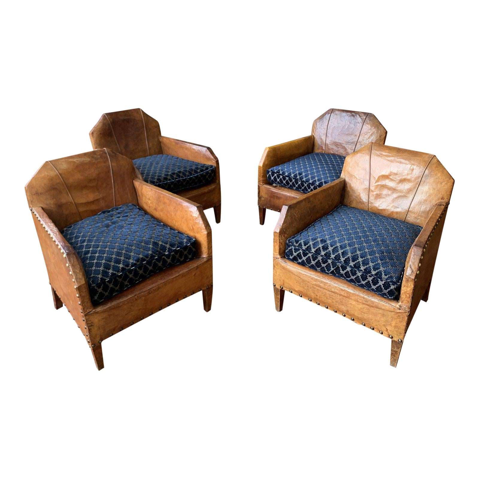 1930s Vintage Art Deco French Leather Club Chairs - Set of 4 - French Antiques www.Decoparis.com