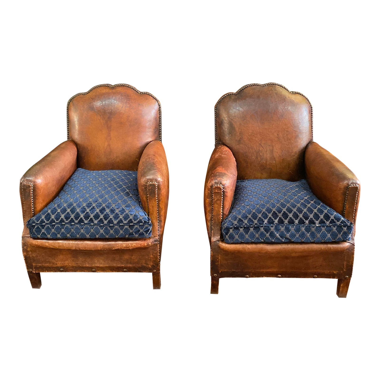1930's Vintage Art Deco Leather Club Chairs - A Pair - French Antiques www.Decoparis.com