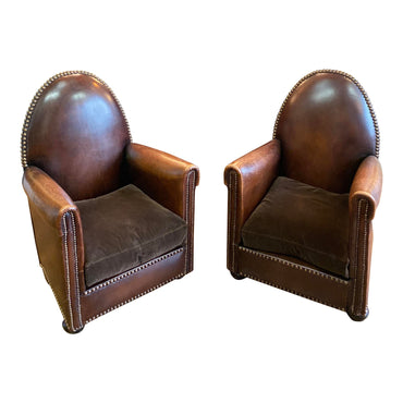 1940s Vintage Cathedrale Art Deco Leather Chairs- A Pair - French Antiques www.Decoparis.com