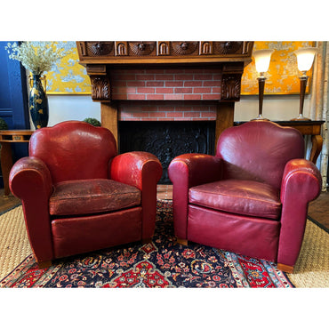 1940s Vintage French Camelback Art Deco Leather Club Chairs- A Pair - French Antiques www.Decoparis.com