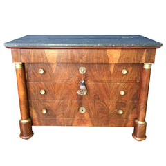 Vintage 1800's French Empire Flame Mahogany Napoleonic Commode Black Marble top - French Antiques www.Decoparis.com