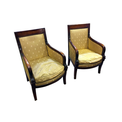Pair of French 1850s Empire Style Walnut Bergères - New York