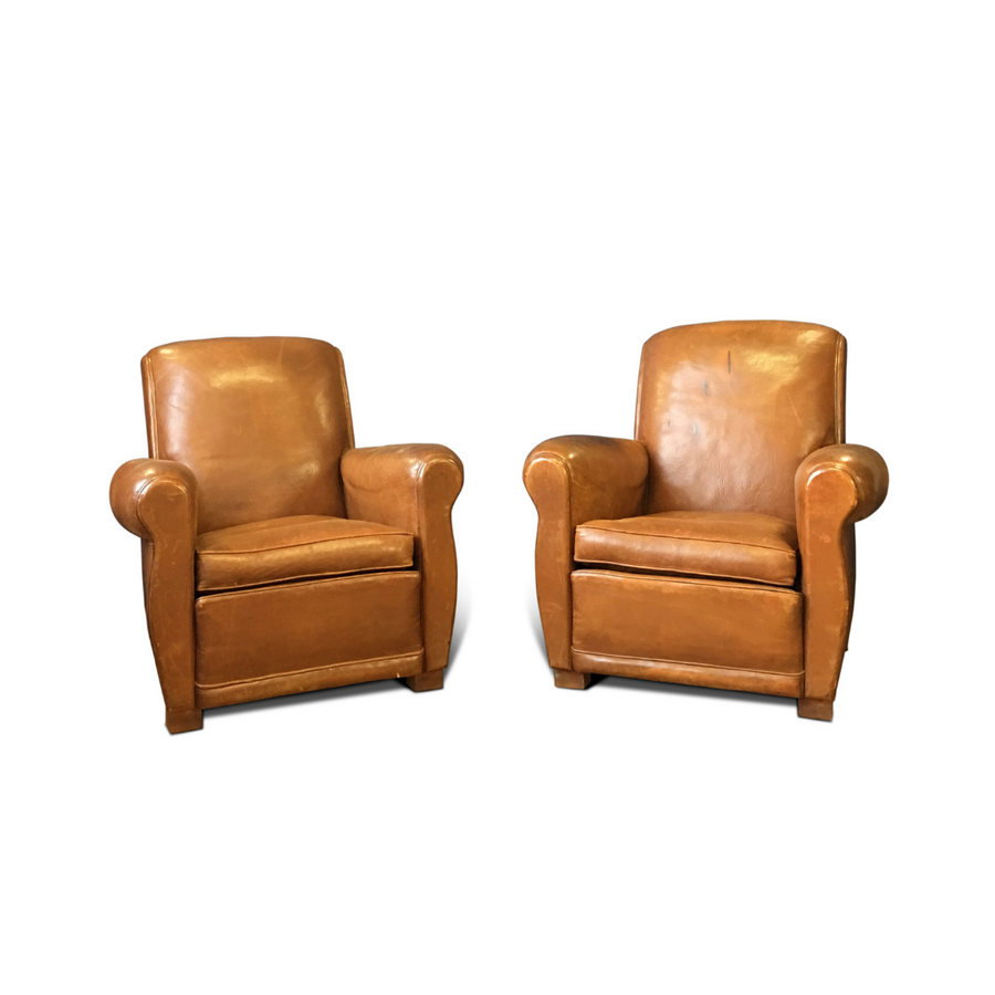 Leather 1930's Art Deco French Club Chairs - Made in France