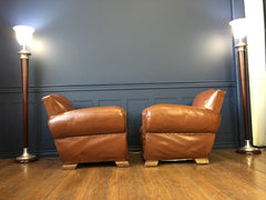 Pair of French Moustache Leather Club Chair Art Deco Circa 1930's - New York - French Antiques www.Decoparis.com