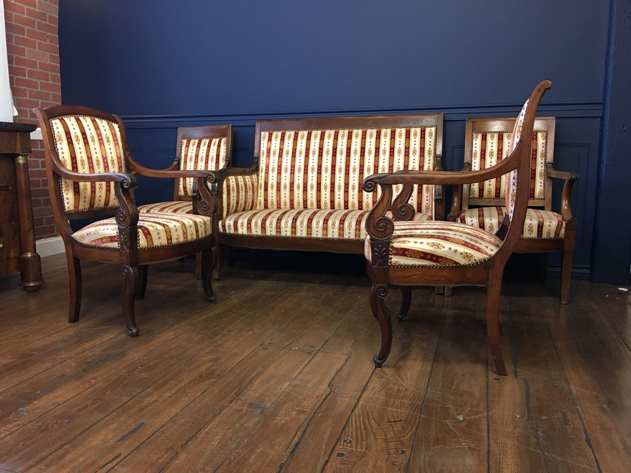 Authentic 19th Century France Empire five Pieces Mahogany Salon - Perfectly Restored - French Antiques www.Decoparis.com