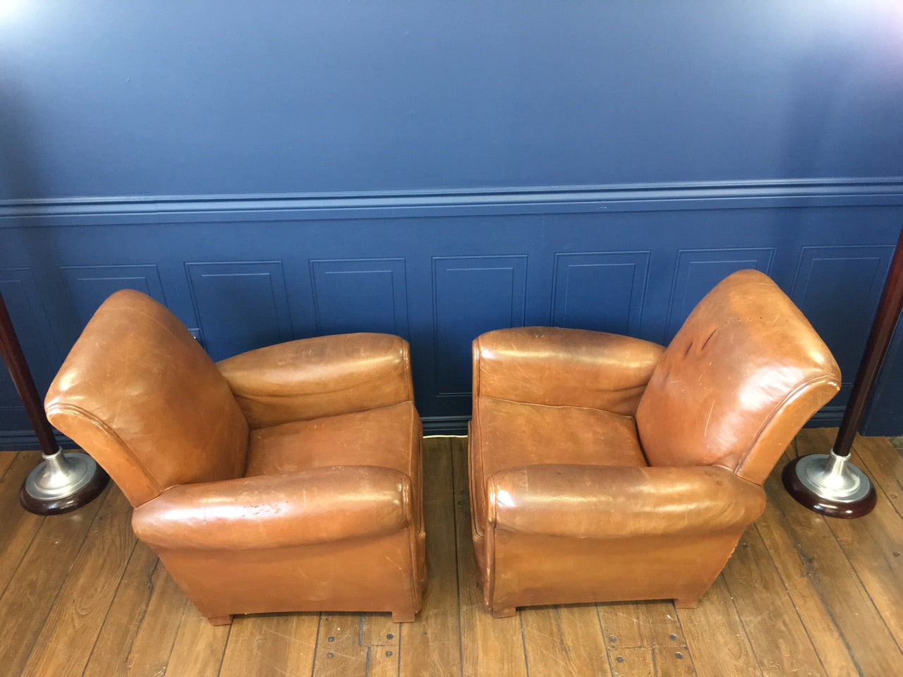 Leather 1930's Art Deco French Club Chairs - Made in France - French Antiques www.Decoparis.com