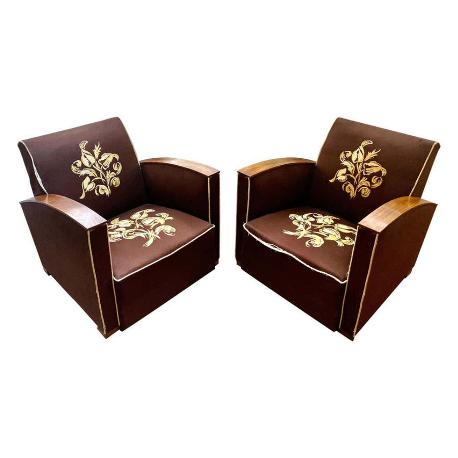 Pair of Art Deco Club Chairs France, circa 1930