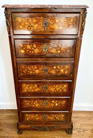 Napoleon III French Secretary Chest of Drawers Mahogany Rosewood Inlaid
