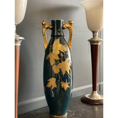 Antique Gustave Asch Blue Green and Gold Porcelain Vase - French Antiques www.Decoparis.com