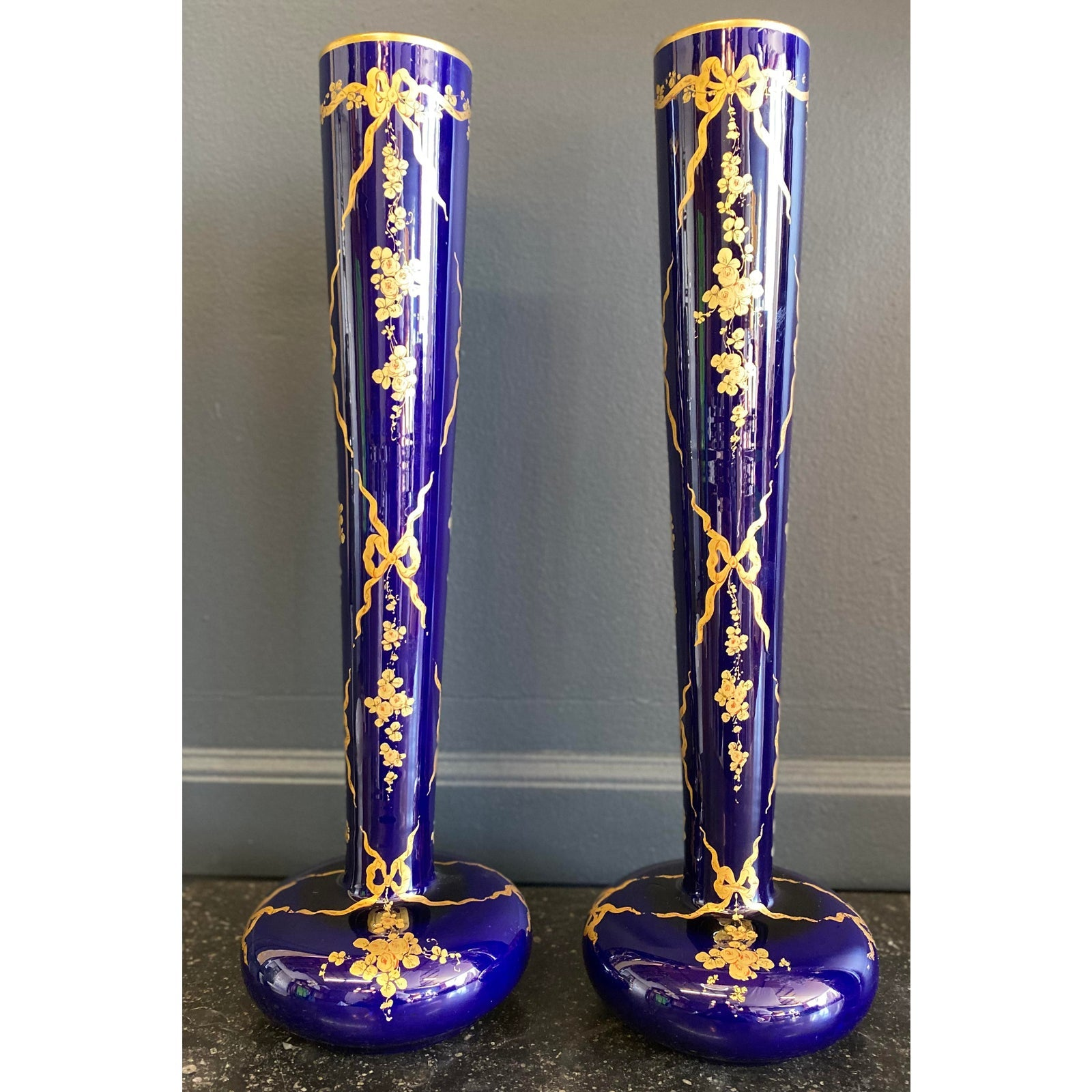 Antique Gustave Asch Cobalt Blue and Gold Porcelain Vases - a Pair - French Antiques www.Decoparis.com