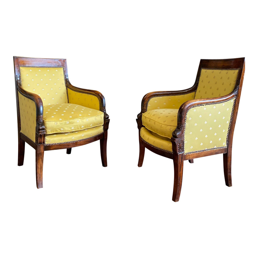 Early 19th Century Empire Mahogany Fauteuils- A Pair - French Antiques www.Decoparis.com