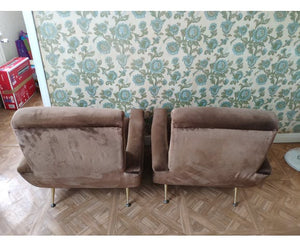 Set of two sixties velvet armchairs