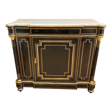 French Napoleon III Credenza Gilt Bronze Mounted Ebonized Wood Cabinet - French Antiques www.Decoparis.com