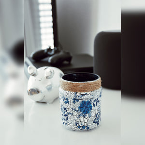 Blue Floral Candle Holder