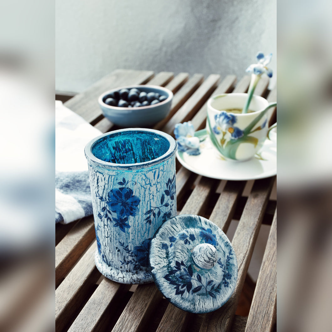 Blue Floral Candle Holder with Lid