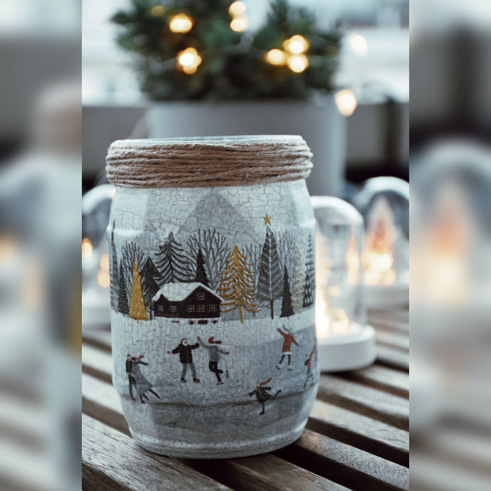 Winter Collection, Iceskating Mood, Upcycled Glass Jar
