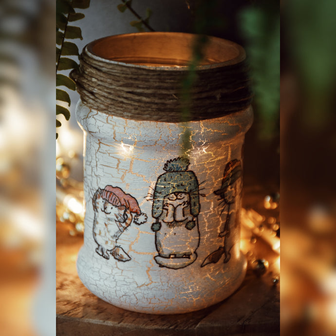 Winter Kittens, Upcycled Glass Jar, Gold Shade