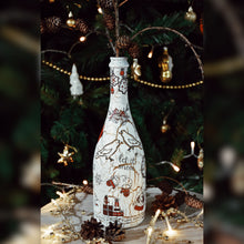 Load image into Gallery viewer, Holiday Season Upcycled Glass Bottle