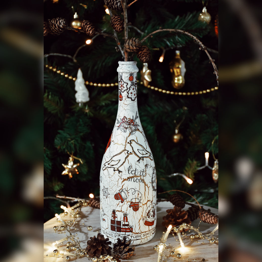 Holiday Season Upcycled Glass Bottle