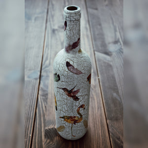 Tropical Birds, Upcycled Glass Bottle