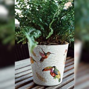 Tropical Birds, Upcycled Glass Pot