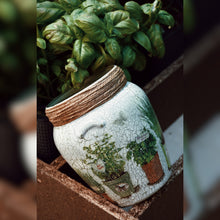 Load image into Gallery viewer, Organic Herbs Inspired Upcycled Glass Jar