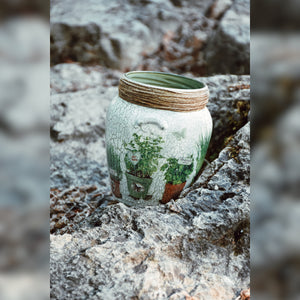 Organic Herbs Inspired Upcycled Glass Jar