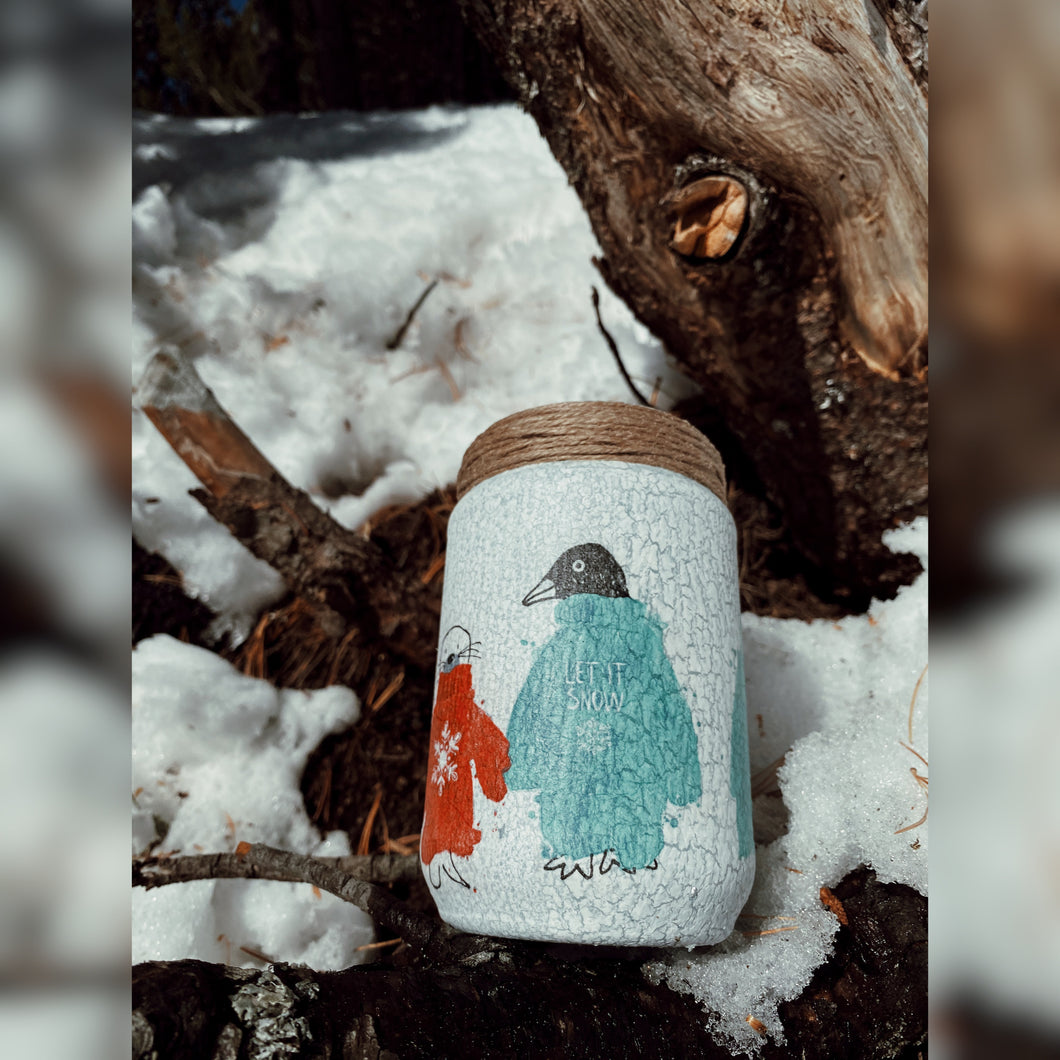 Winter Collection, Polar Friends, Upcycled Glass Jar