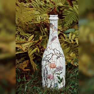 Birds And Flowers, Upcycled Glass Bottle