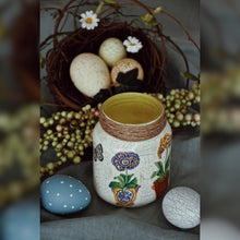Load image into Gallery viewer, Rustic Floral Upcycled Glass Jar