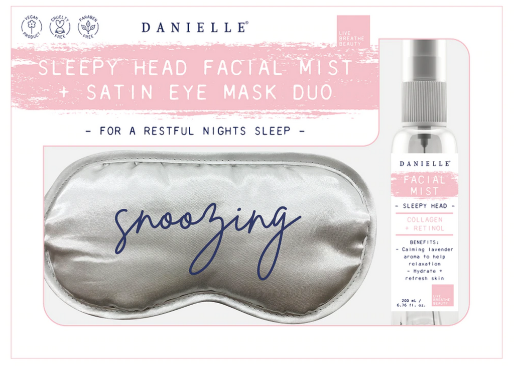 Danielle Snoozing Silver Grey Satin Eye Mask +  Mist Spray Set