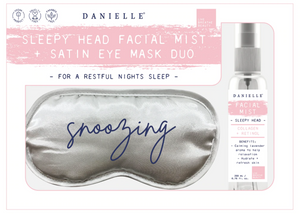 Silver Grey Satin Eye Mask +  Lavender Mist Spray Set
