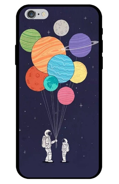 Astronaut giving Balloons to Child Astronaut iPhone Case