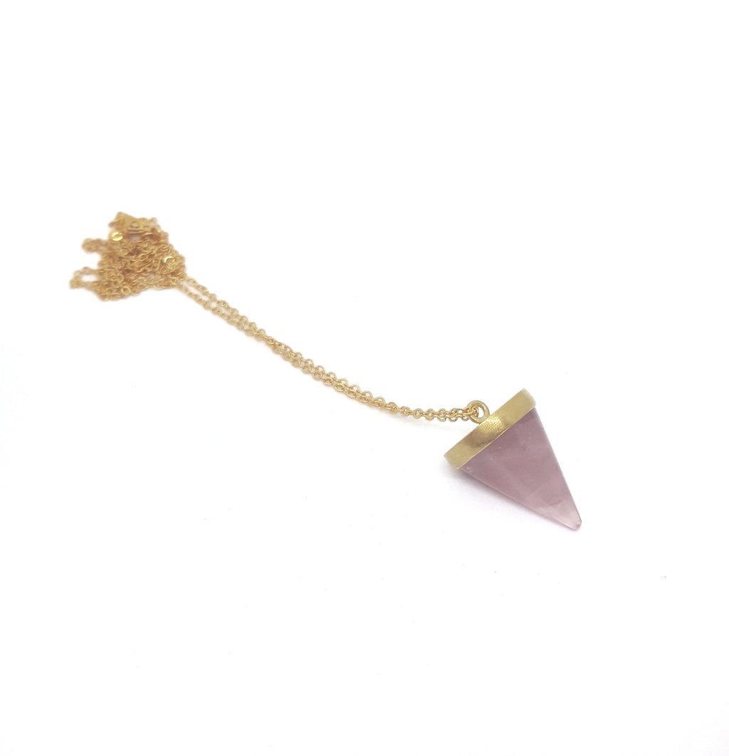 Rose Quartz Cone Pendant