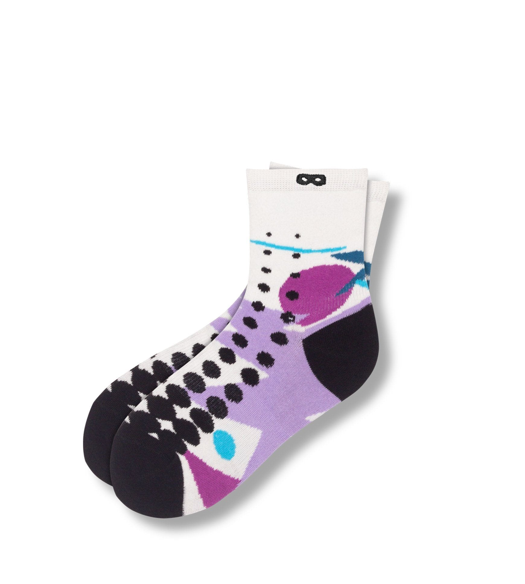 Kimmy Gibler Women's Ankle Socks White With Purple Retro Design