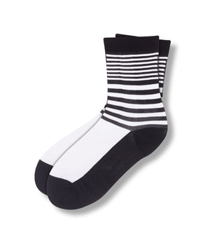 Samantha Jones Women's Sheer Crew Socks White With Black Stripes