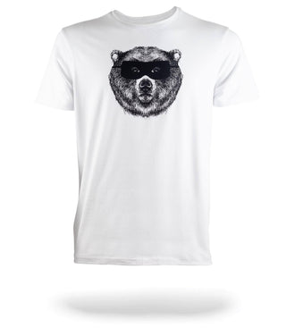 SuperSoft Crew Neck Tee White with bear face logo