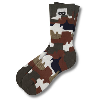 The Man In The Bottle In Ivory Crew Socks